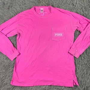 Victoria's Secret PINK long sleeve hot pink tee M